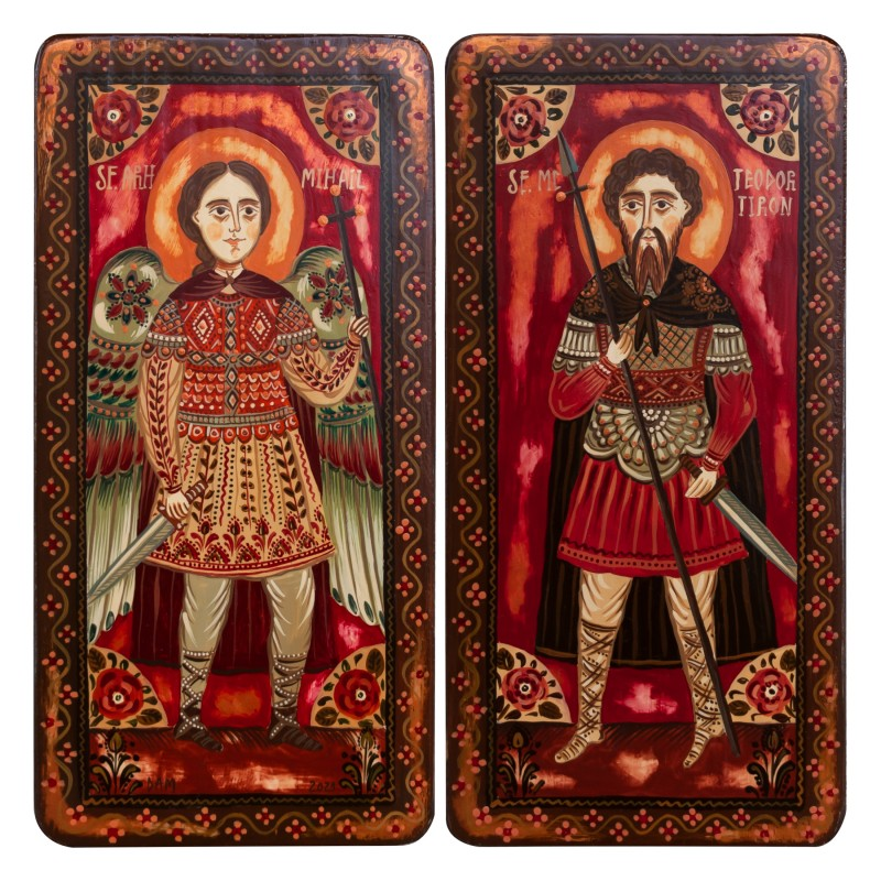 """Wood icon, diptych, """"St. Arch. Michael and St. Theodore of Amasea"""", 2 x 10x20 cm (N)"""