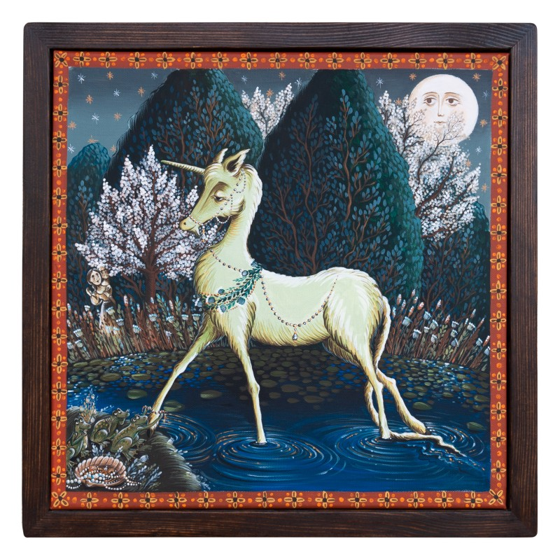 "Canvas painting, ""Behold the Unicorn"", 40x40 cm, wooden frame"