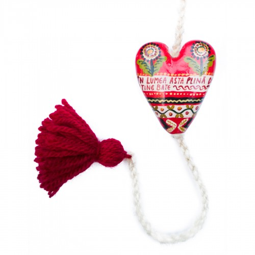 "Heart figurine with tassel, model 4, ""In this world full of sins..."", 4.5x5.5 cm"