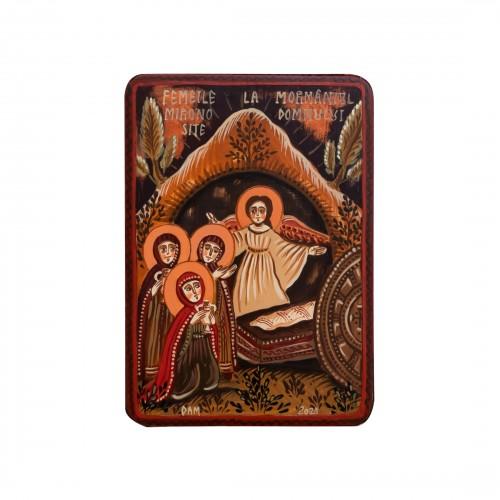 """Icoană pe lemn """"Femeile mironosițe la mormântul Domnului"""", miniatură, 7x10 cm"""