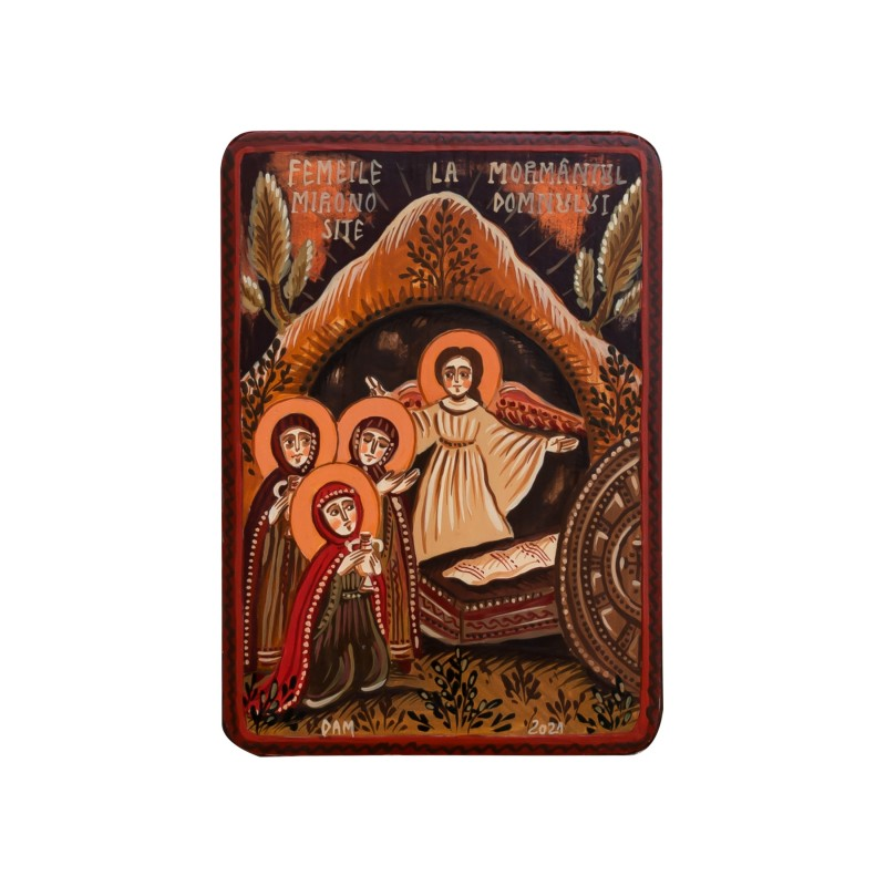 "Wood icon, ""Myrrh-bearing Women"", miniature, 7x10cm"