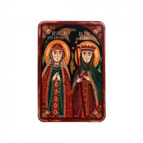 """Icoană pe lemn """"Sf. Iuliana din Lazarevo și Sf. Împărăteasa Elena"""", miniatură, 7x10 cm"""