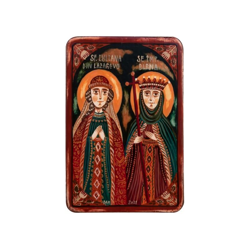 "Wood icon, ""St. Juliana of Lazarevo and St. Helen the Empress"", miniature, 7x10cm"