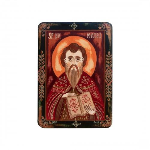 """Icoană pe lemn """"Sf. Ap. Ev. Matei"""", miniatură, 7x10 cm"""