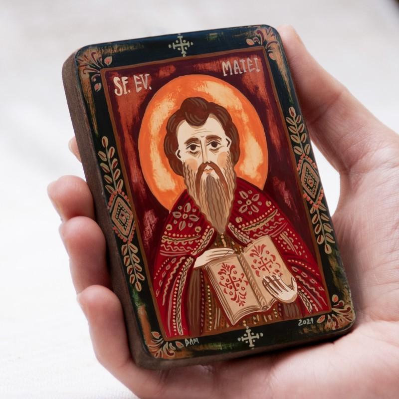 """Wood icon, """"Saint Matthew the Apostle"""", miniature, 7x10cm"""