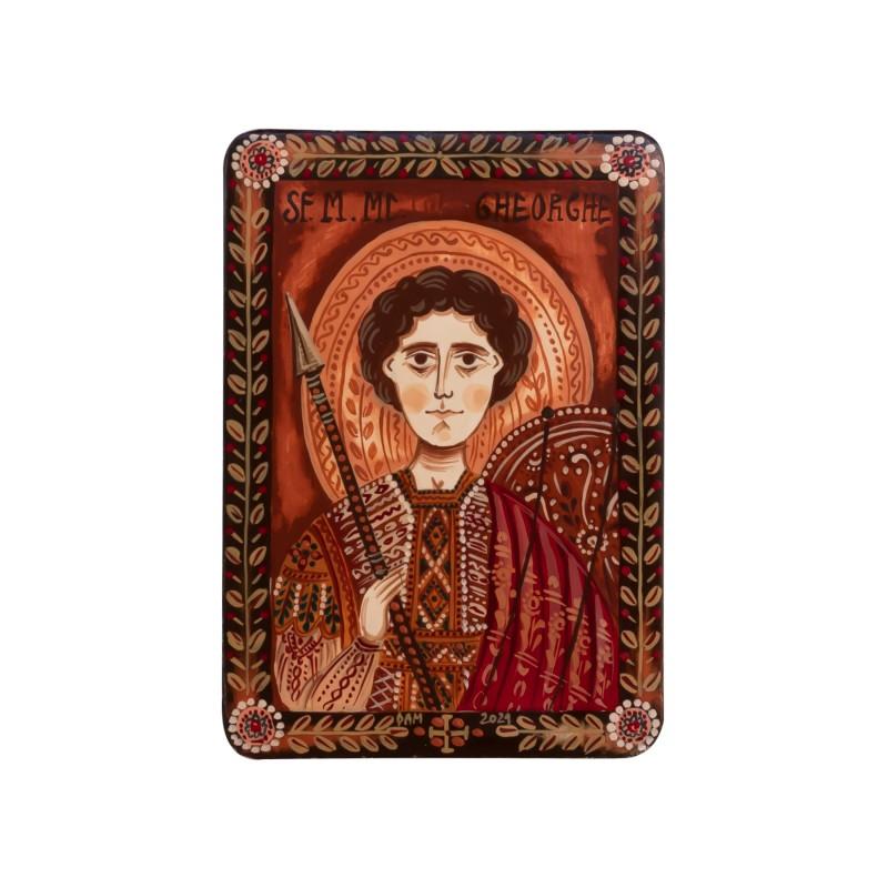"""Wood icon, """"Saint George"""", miniature, 7x10cm"""