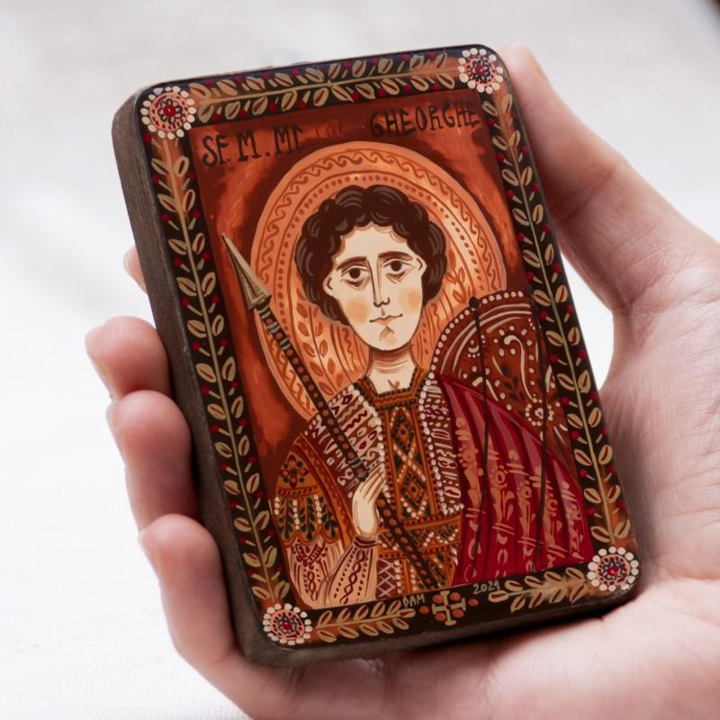 """Icoană pe lemn """"Sfântul Gheorghe"""", miniatură, 7x10 cm"""