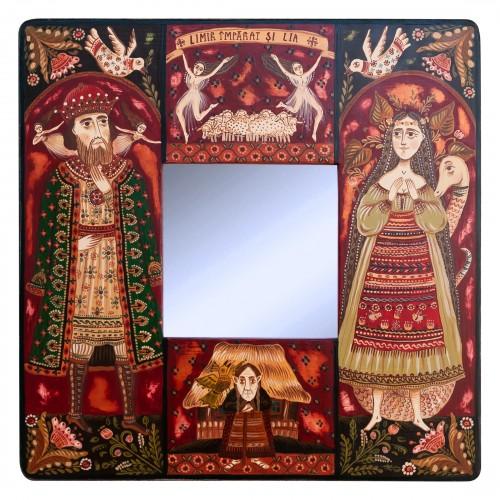 """Tablou pe lemn cu oglindă, """"Limir Împărat și Lia"""", 23x23 cm"""