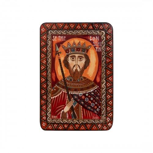 """Icoană pe lemn """"Sf. Împărat Constantin"""", miniatură, 7x10 cm"""