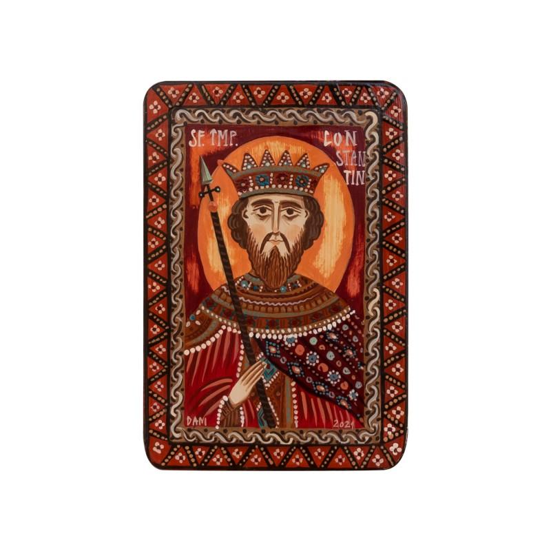 "Wood icon, ""Saint Constantine the Great"", miniature, 7x10cm"