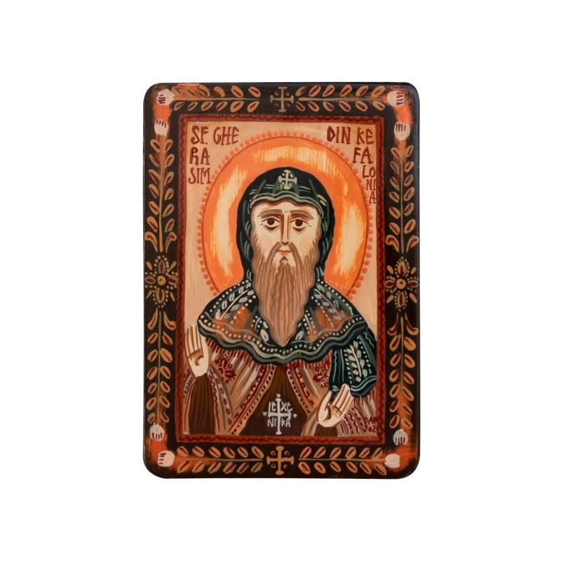 "Wood icon, ""Saint Gerasimus of Kefalonia"", miniature, 7x10cm"