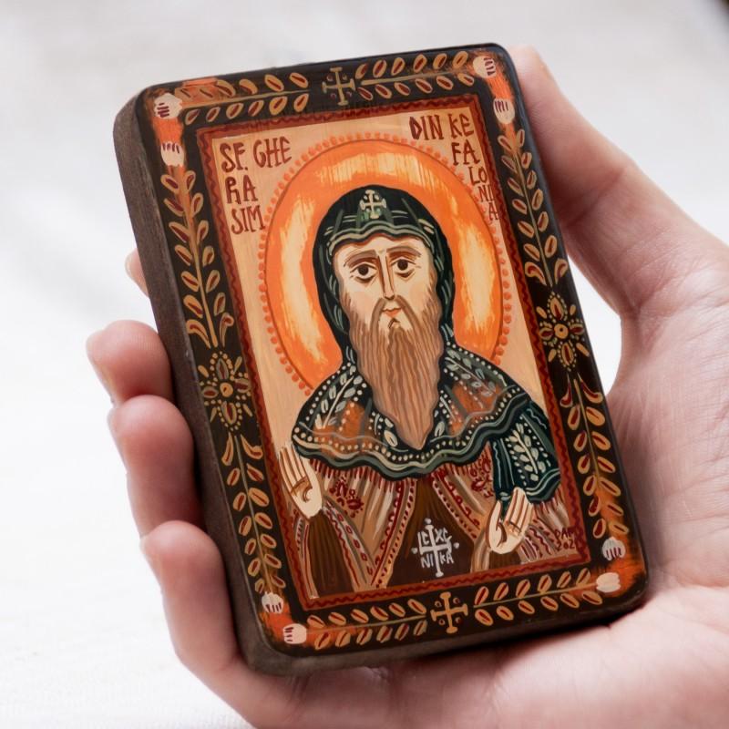 """Icoană pe lemn """"Sfântul Gherasim din Kefalonia"""", miniatură, 7x10 cm"""