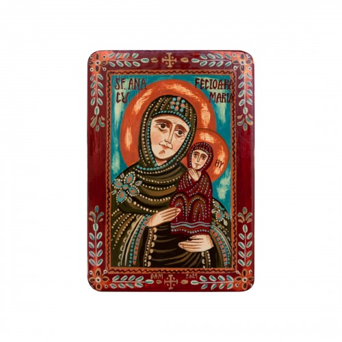"""Wood icon, """"Saint Anne and Virgin Mary"""", miniature, 7x10cm"""