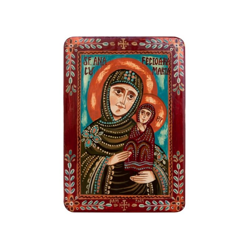 """Icoană pe lemn """"Sfânta Ana cu Maica Domnului"""", miniatură, 7x10 cm"""