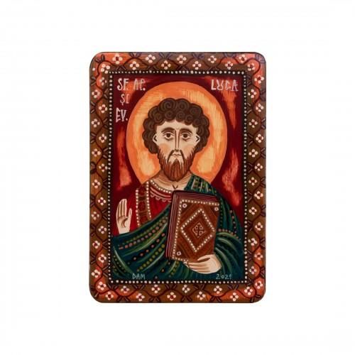 """Icoană pe lemn """"Sf. Ap. Ev. Luca"""", miniatură, 7x10 cm"""