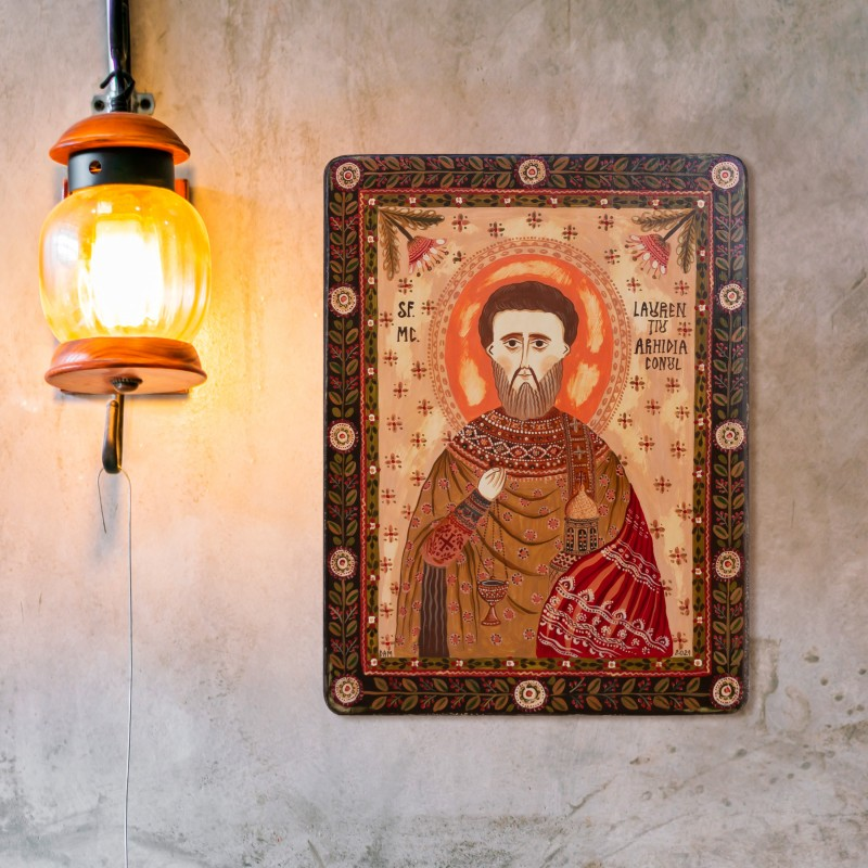 """Wood icon, """"St. Lawrence of Rome"""""""