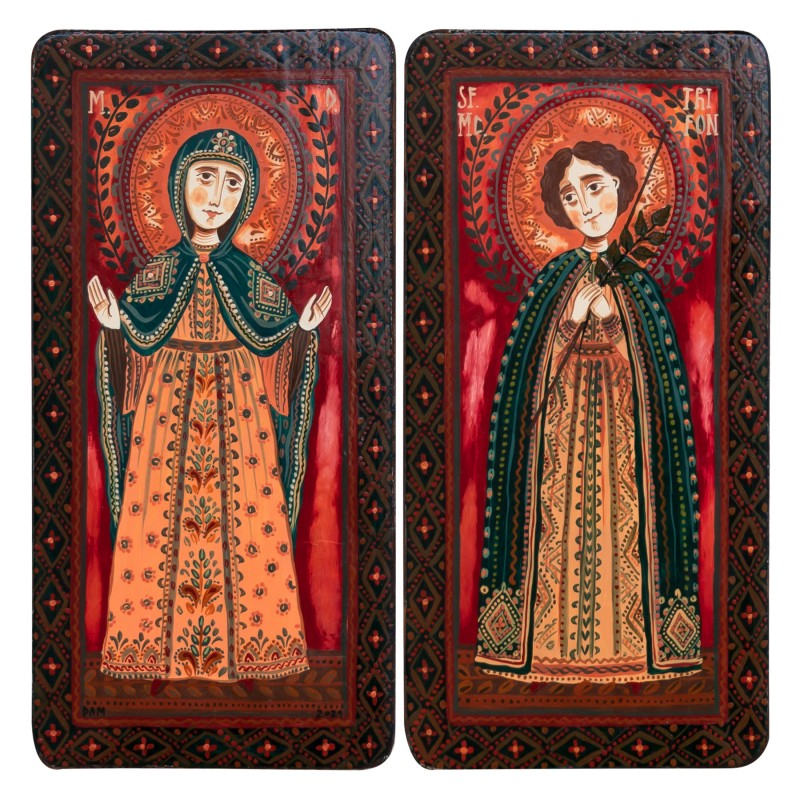 """Wood icon, diptych, """"Virgin Mary and Saint Tryphon"""", 2 x 10x20 cm"""
