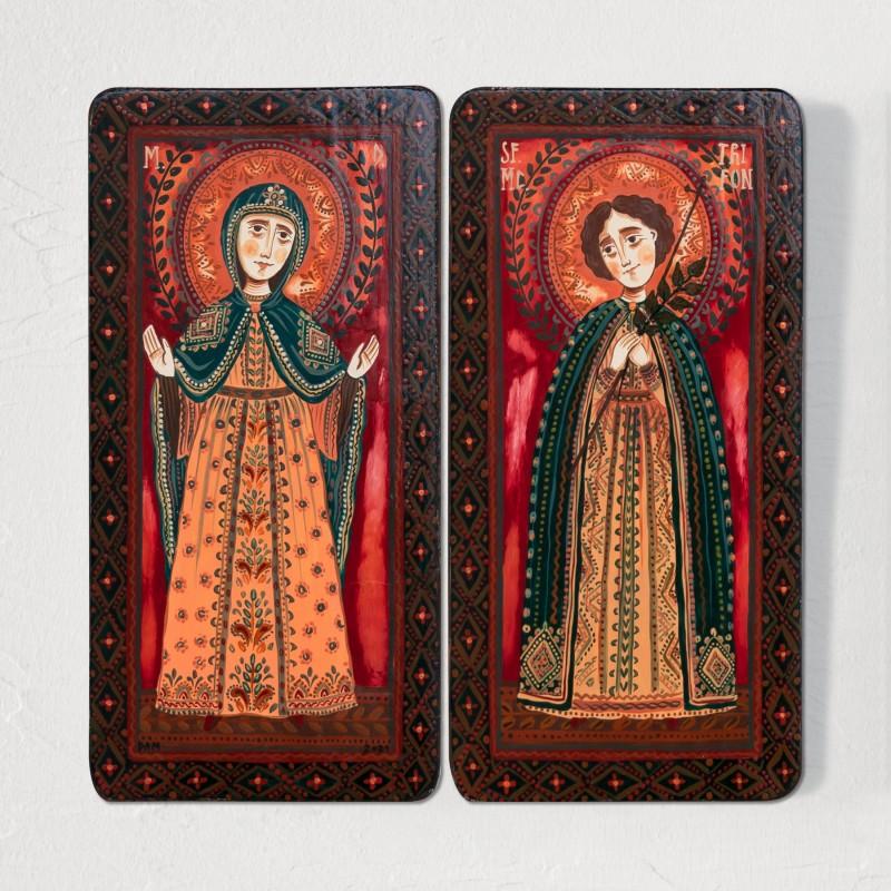 """Icoană pe lemn tip diptic """"Maica Domnului și Sf. Mc. Trifon"""", 2 x 10x20cm"""