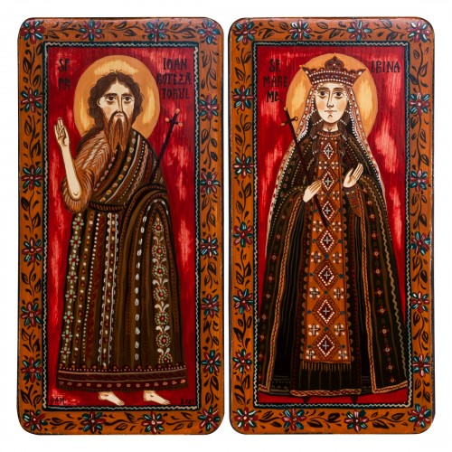"""Wood icon, diptych, """"St. John the Forerunner and St. Irene of Thessaloniki"""", 2 x 10x20 cm (N)"""