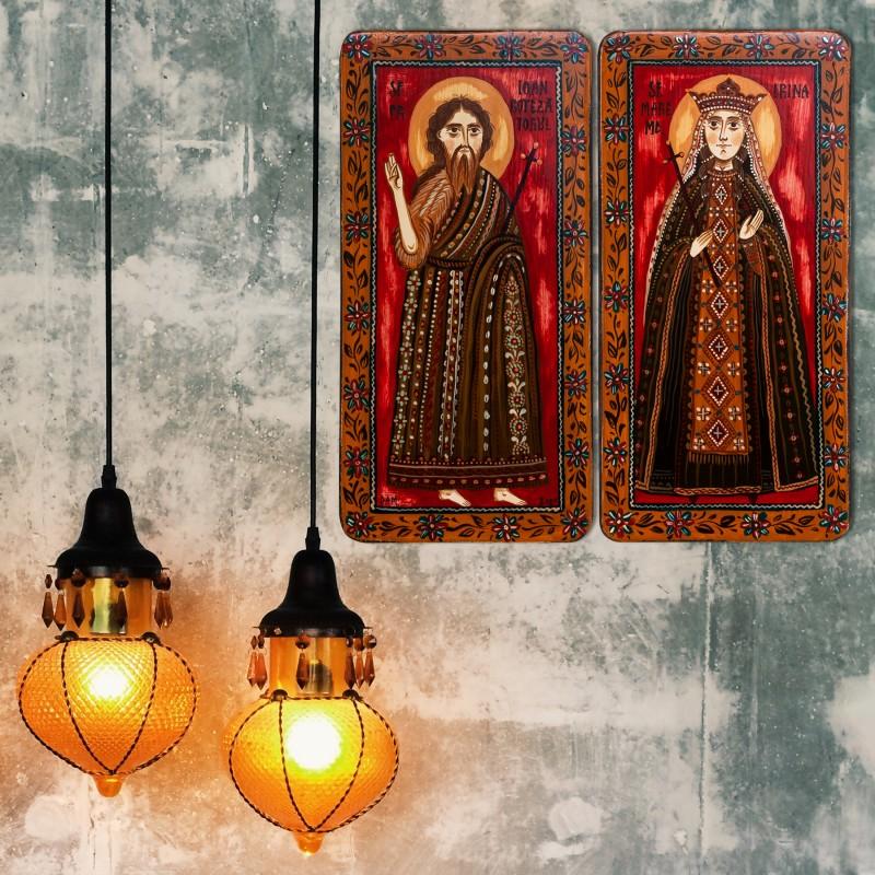 "lemn tip diptic ""Sf. Ioan Botezatorul si Sf. M. Mc. Irina"", 2 x 10x20cm"