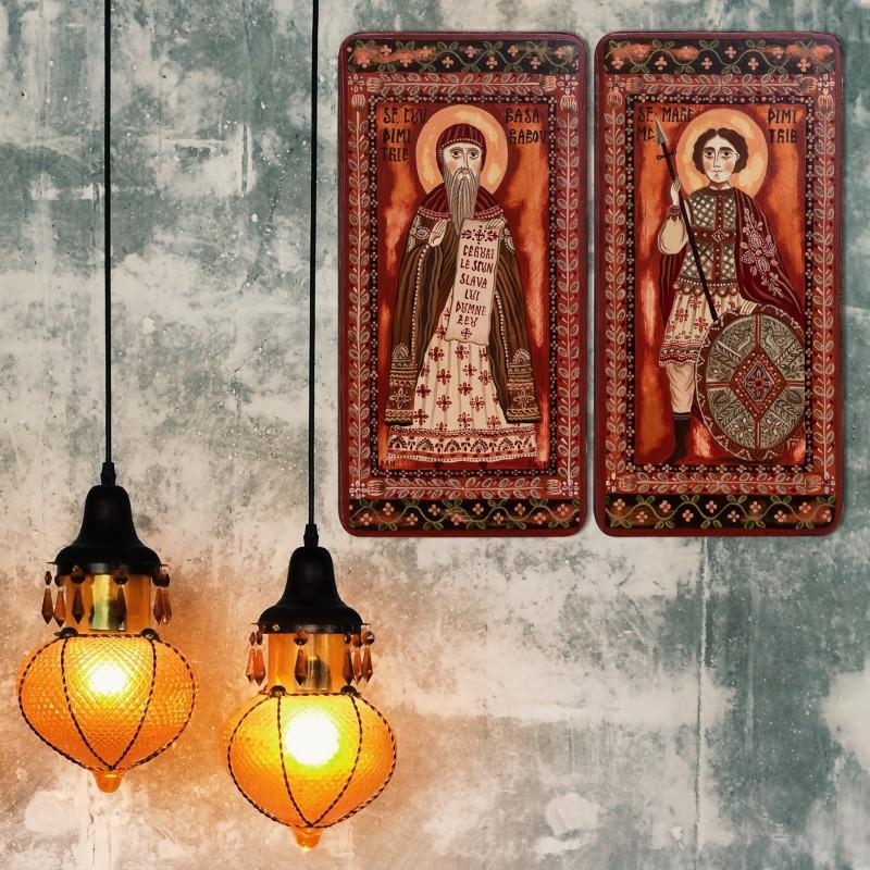 "Icoană pe lemn tip diptic ""Sf. Dimitrie Basarabov si Sf. Mare Mc. Dimitrie"", 2 x 10x20cm"