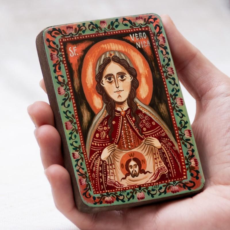 "Wood icon, ""Saint Veronica"", miniature, 7x10cm"