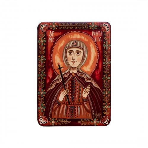 "Wood icon, ""Saint Natalia the Martyr"", miniature, 7x10cm"
