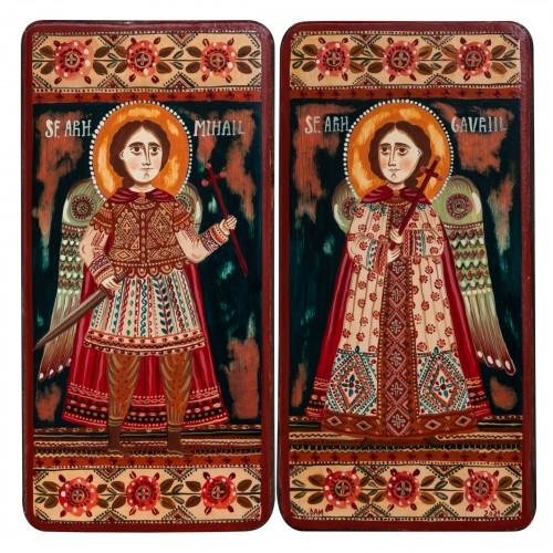 "Wood icon, diptych, ""St. Arch. Michael and Gabriel"", 2 x 10x20 cm (N)"