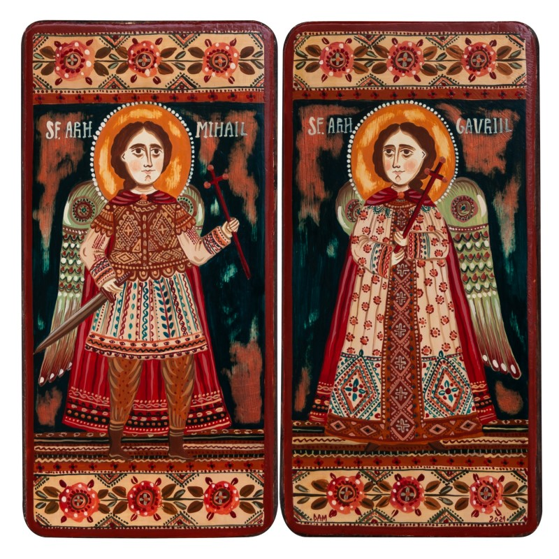 "Icoană pe lemn tip diptic ""Sf. Arh. Mihail și Gavriil"", 2 x 10x20cm"
