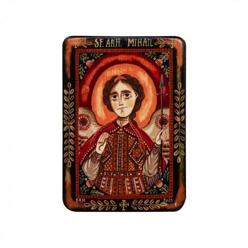 """Wood icon, """"Saint Archangel Michael"""", miniature, model 2, 7x10cm"""