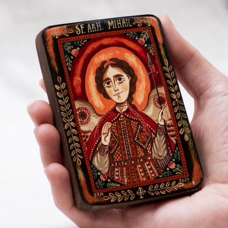 """Icoană pe lemn """"Sfântul Arh. Mihail"""", miniatură, model 2, 7x10 cm"""
