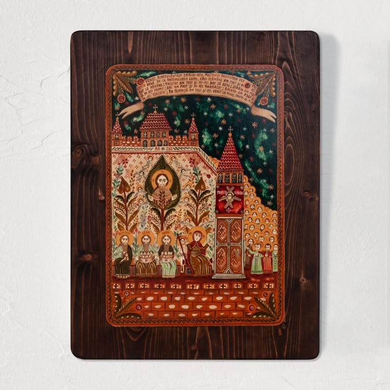 "Wood icon, ""Heaven's Legacy"", 30x40 cm"