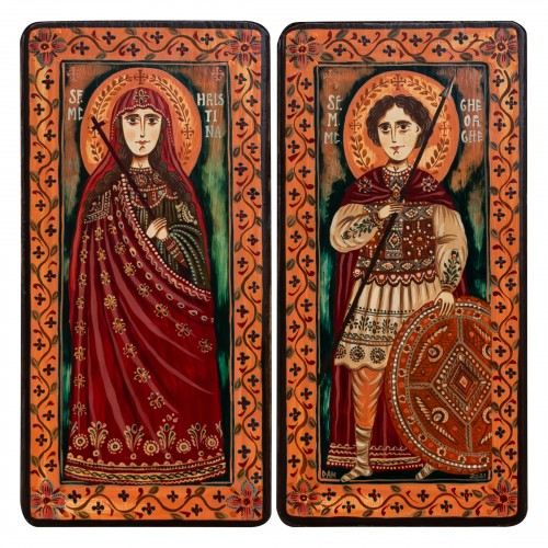 "Icoană pe lemn tip diptic ""Sfinții M. Mc. Hristina și Gheorghe"", 2 x 10x20cm"