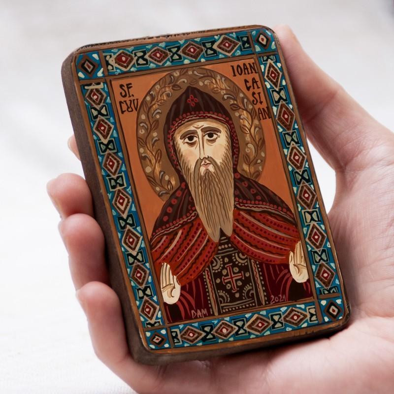 "Wood icon, ""Saint John Cassian"", miniature, 7x10cm"