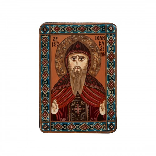 """Icoană pe lemn """"Sfântul Ioan Casian"""", miniatură, 7x10 cm"""