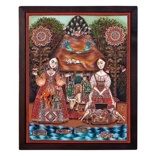 """Canvas painting, """"The Old Man's Daughter and the Old Woman's Daughter"""", 40x50 cm, wooden frame, manually painted"""