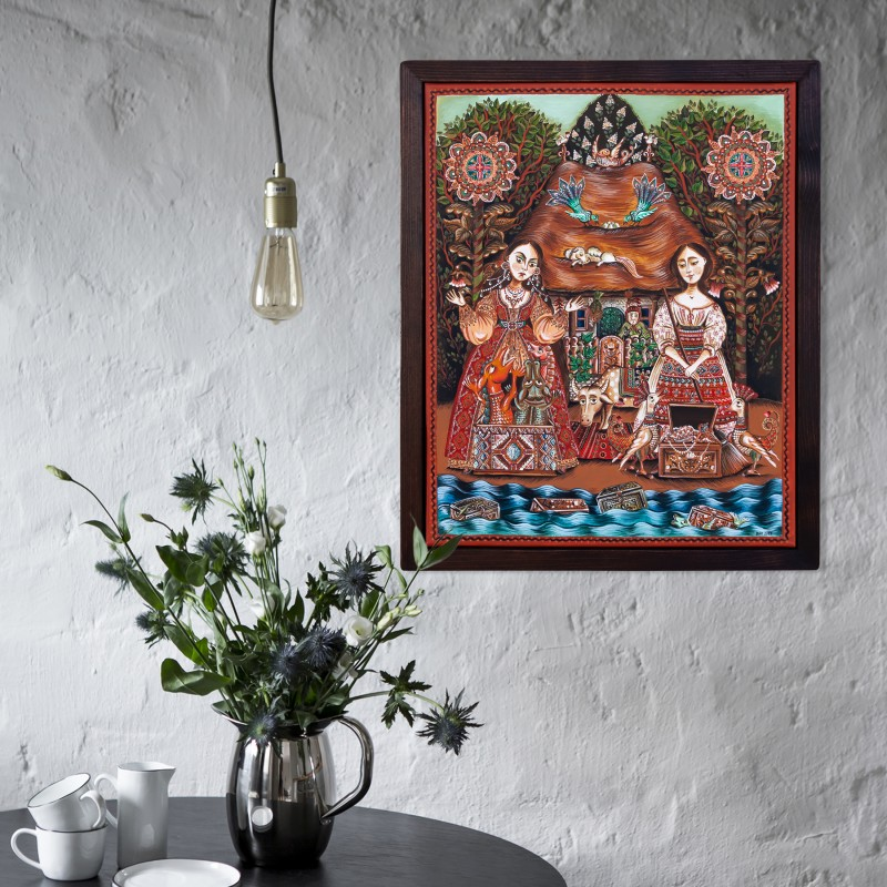 """Tablou pe pânză, """"Fata babei şi fata moşneagului"""", 40x50 cm, ramă lemn, pictat manual"""