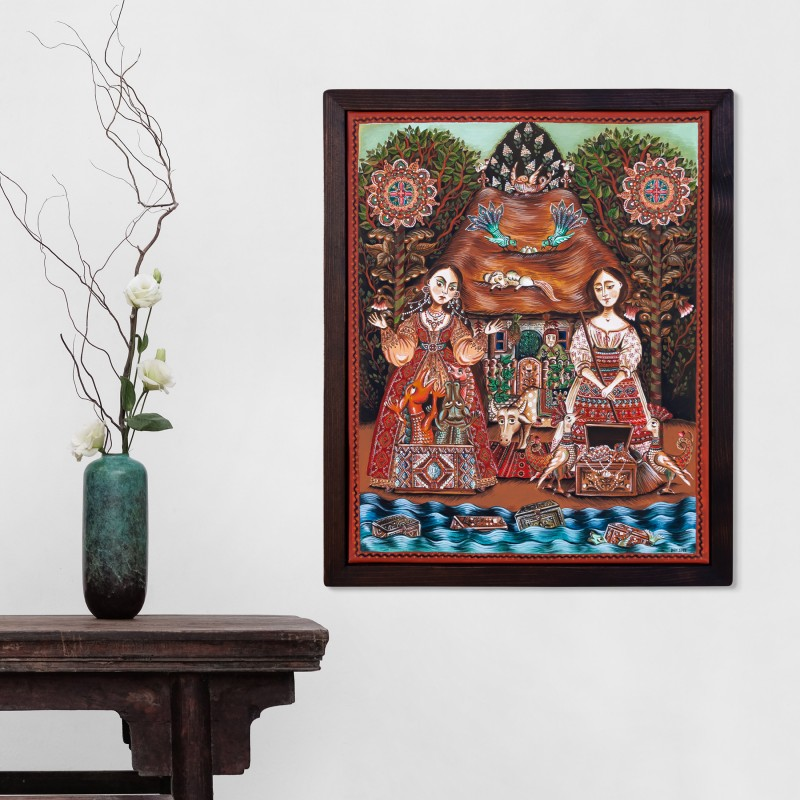 """Canvas painting, """"The Old Man's Daughter and the Old Woman's Daughter"""", 40x50 cm, wooden frame"""
