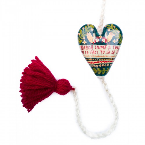 "Heart figurine with tassel, model 6, ""Endure, my heart..."", 4.5x5.5 cm"