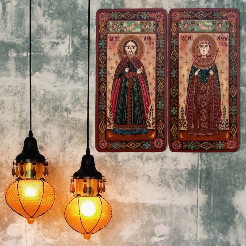 "Icoană pe lemn tip diptic ""Sf. Mc. Adrian și Sf. Mc. Natalia"", 2 x 10x20cm"