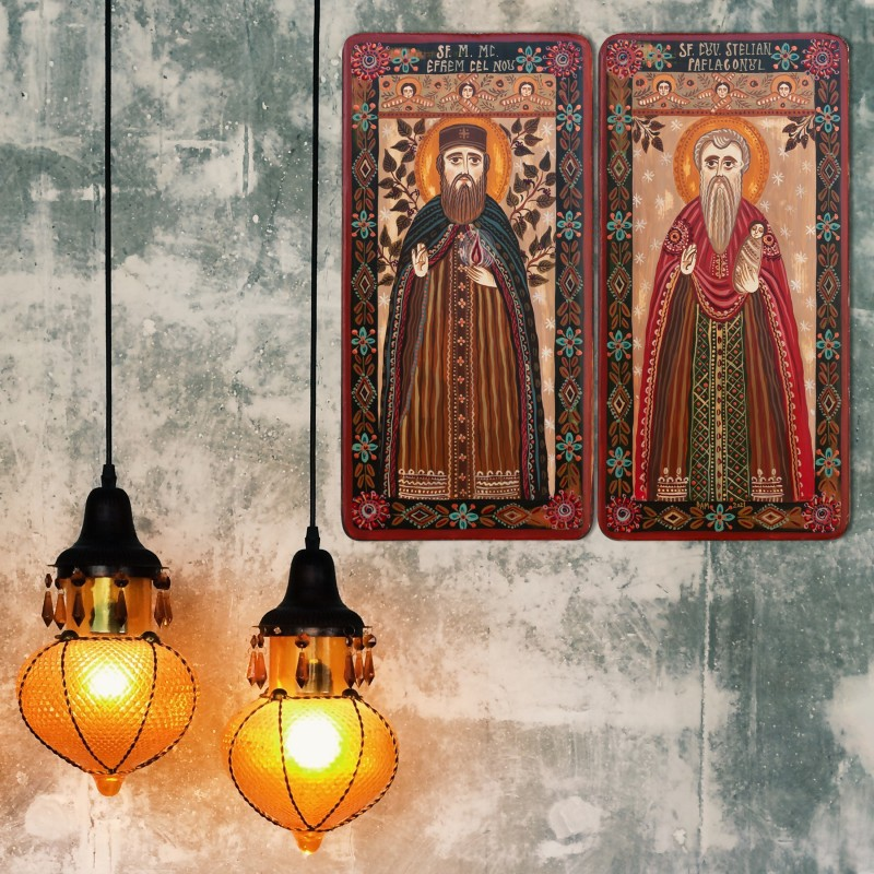 """Icoană pe lemn tip diptic """"Sf. Efrem cel Nou și Sf. Stelian Paflagonul"""", 2 x 10x20cm"""