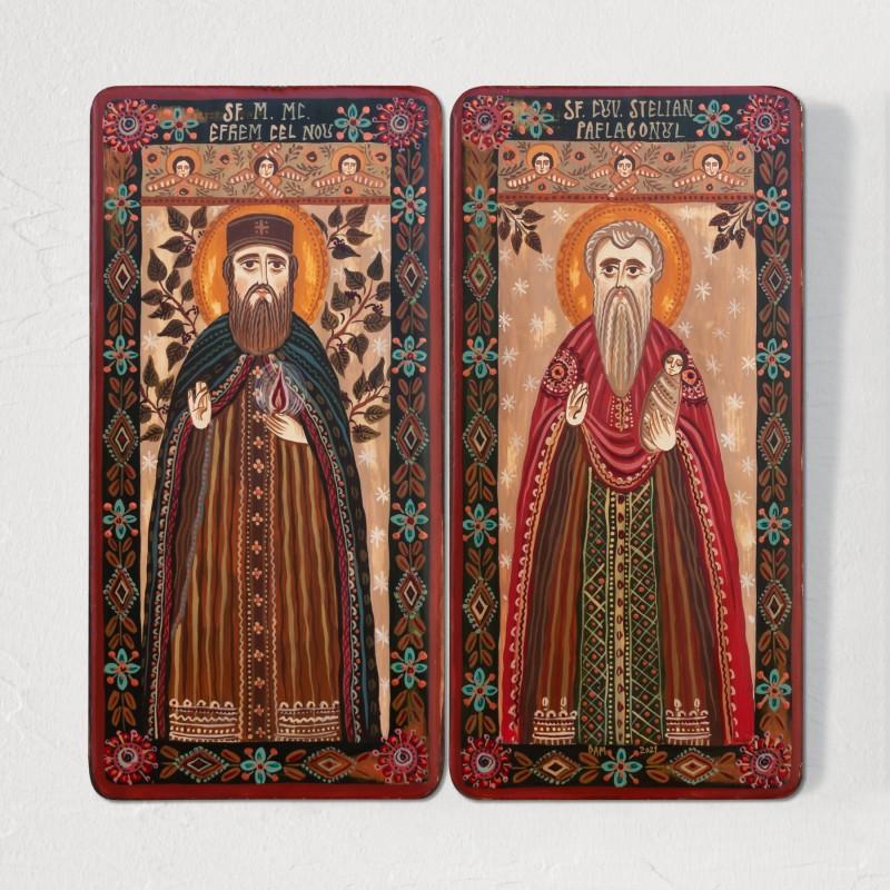 "Wood icon, diptych, ""St. Ephraim of Nea Makri and St. Stylianos of Paphlagonia"", 2 x 10x20 cm"