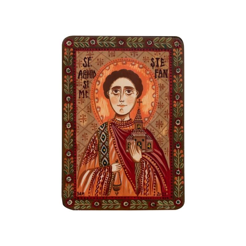 """Icoană pe lemn """"Sfântul Ștefan"""", miniatură, 7x10 cm"""