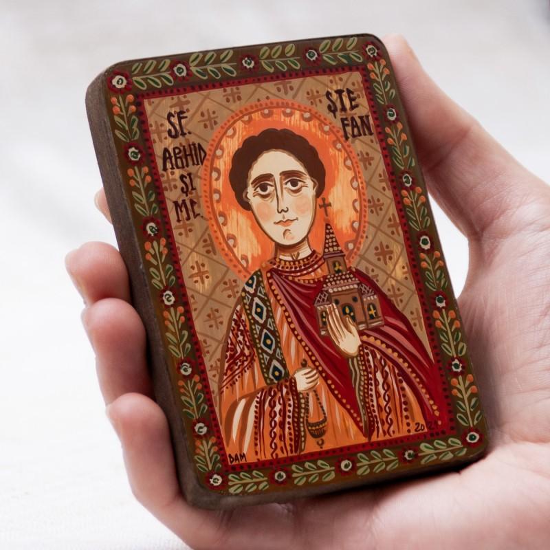 "Wood icon, ""Saint Stephen"", miniature, 7x10cm"