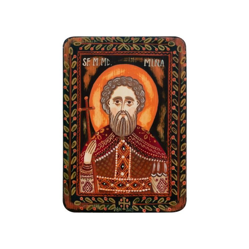 """Icoană pe lemn """"Sfântul Mina"""", miniatură, 7x10 cm"""