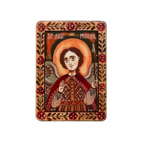 """Wood icon, """"Saint Archangel Michael"""", miniature, 7x10cm"""