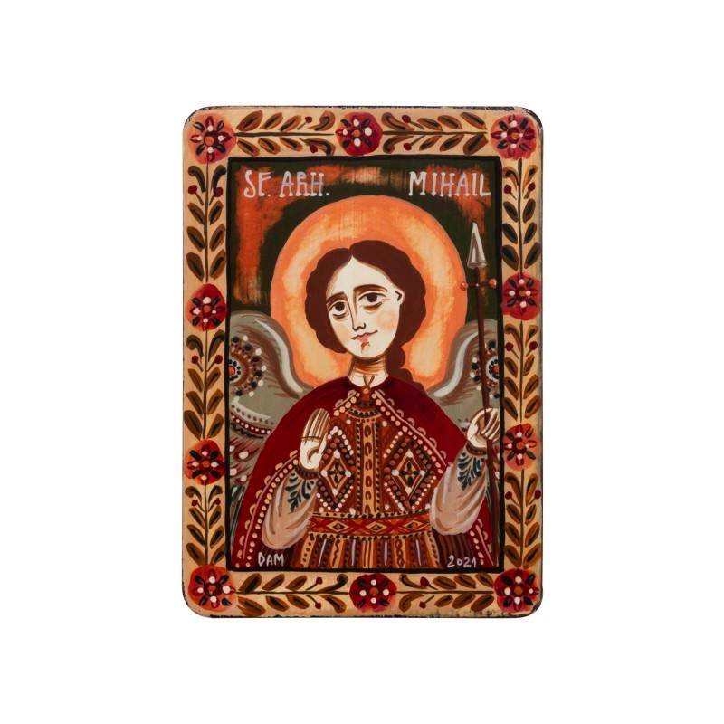 """Icoană pe lemn """"Sfântul Arh. Mihail"""", miniatură, 7x10 cm"""