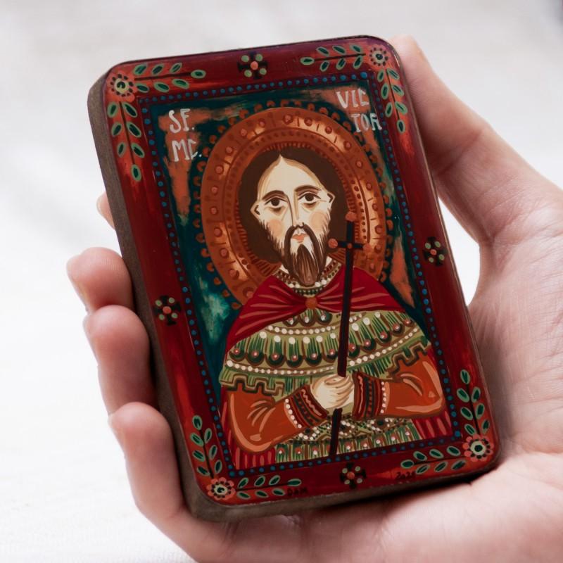 """Icoană pe lemn """"Sf. Mc. Victor"""", miniatură, 7x10 cm"""
