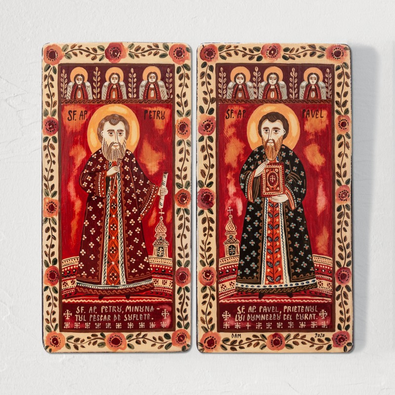 """Wood icon, diptych, """"St. Peter and Paul"""", 2 x 10x20 cm"""
