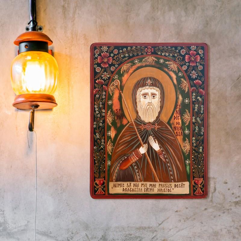 "Wood icon, ""Saint Benedict of Nursia"""